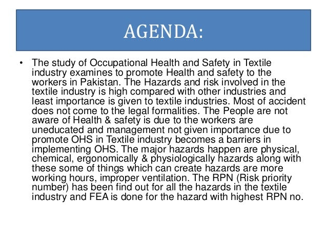 thesis in occupational health and safety The williams-steiger occupational safety and health act of 1970 established the occupational safety and health administration the assistant secretary for occupational safety, john henshaw, directs the osha.