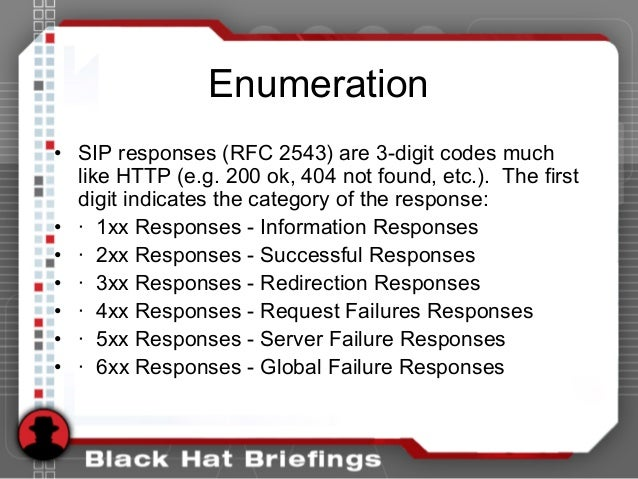Enumeration • SIP responses (RFC 2543) are 3-digit codes much like HTTP (e.g. 200 ok, 404 not found, etc.). The first digi...