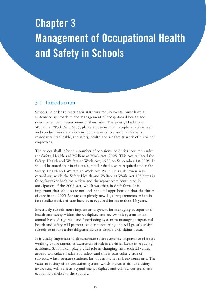health and safety act in schools