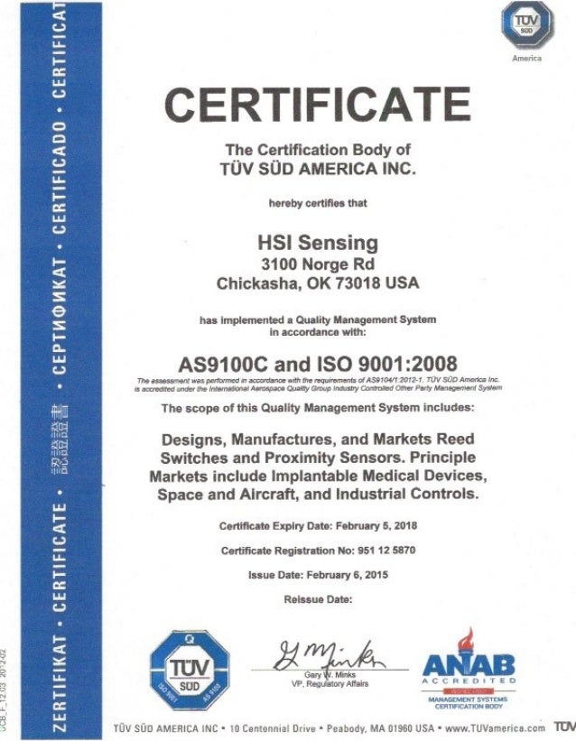 HSI Sensing Certification of TÜV SÜD AMERICA INC.
