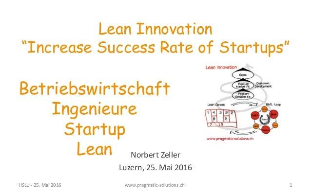 """Norbert  Zeller Luzern,  25.  Mai  2016 Lean Innovation """"Increase Success Rate of Startups"""" Betriebswirtschaft Ing..."""