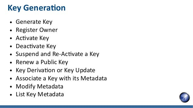 Key Generation ● Generate Key ● Register Owner ● Activate Key ● Deactivate Key ● Suspend and Re-Activate a Key ● Renew a P...