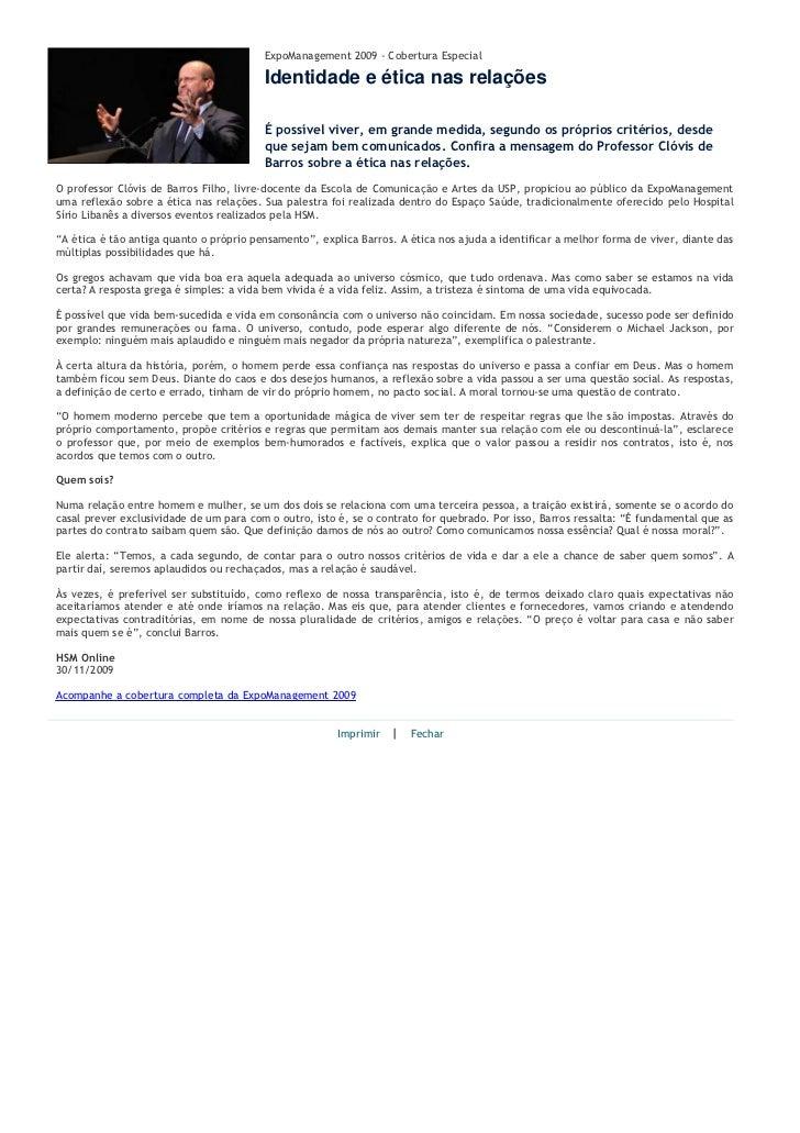 ExpoManagement 2009 - Cobertura Especial                                         Identidade e ética nas relações          ...