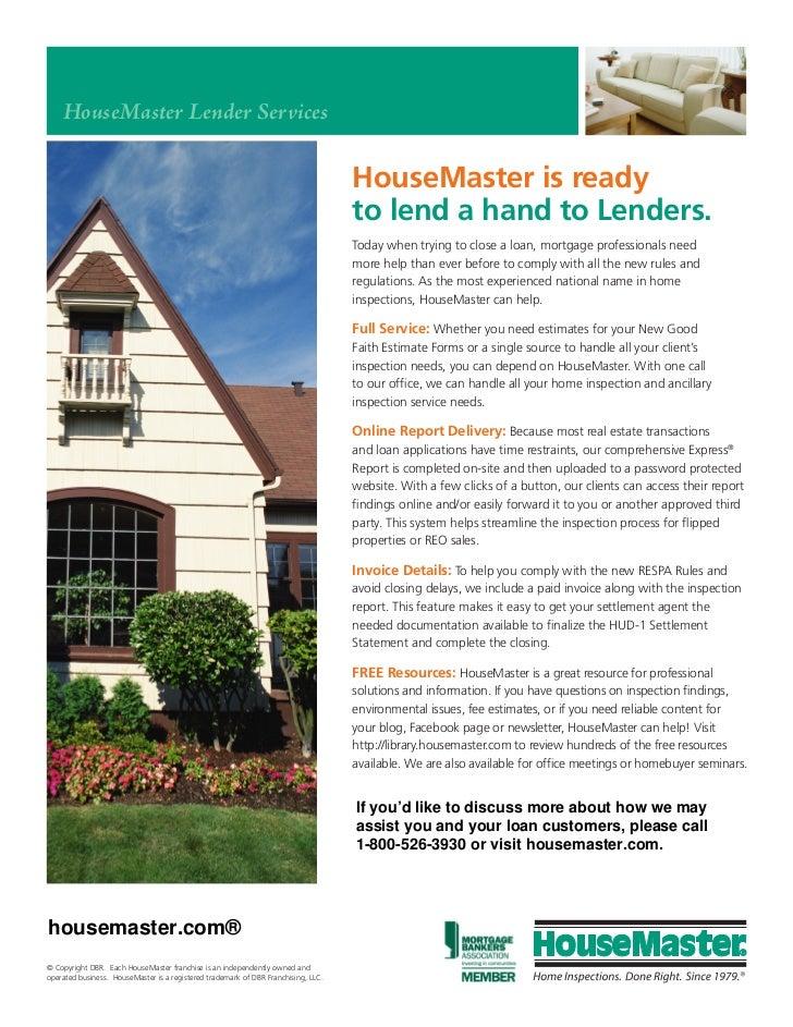 HouseMaster Lender Services                                                                                    HouseMaster...