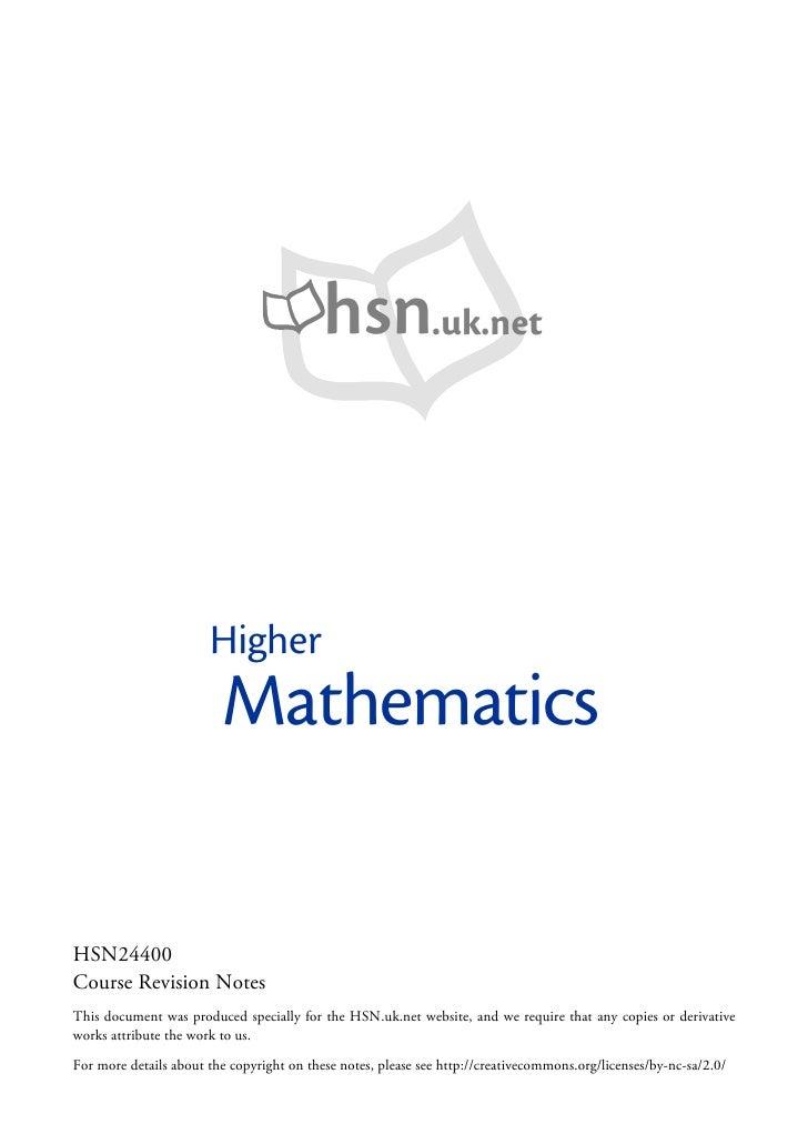 hsn.uk.net                           Higher                          Mathematics  HSN24400 Course Revi on Notes           ...