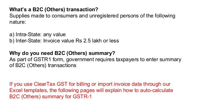 HSN Summary and B2C (others) Summary for GSTR 1 - ClearTax
