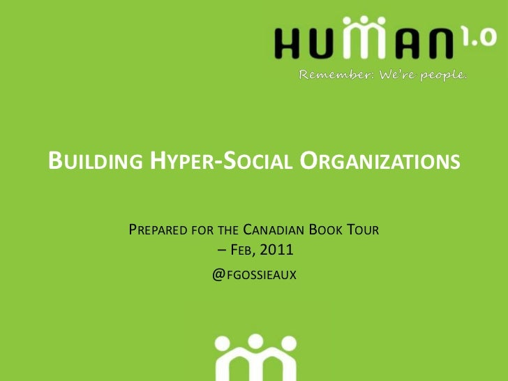 Hyper-Social Organization Canada Book Tour