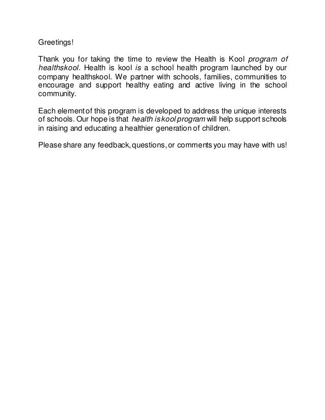 Greetings! Thank you for taking the time to review the Health is Kool program of healthskool. Health is kool is a school h...