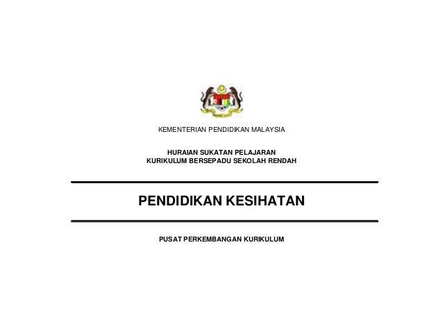 KEMENTERIAN PENDIDIKAN MALAYSIA     HURAIAN SUKATAN PELAJARANKURIKULUM BERSEPADU SEKOLAH RENDAHPENDIDIKAN KESIHATAN  PUSAT...