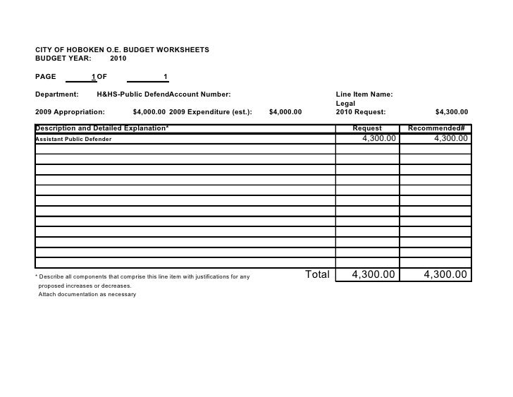 CITY OF HOBOKEN O.E. BUDGET WORKSHEETS BUDGET YEAR:     2010  PAGE                 1 OF                        1  Departme...