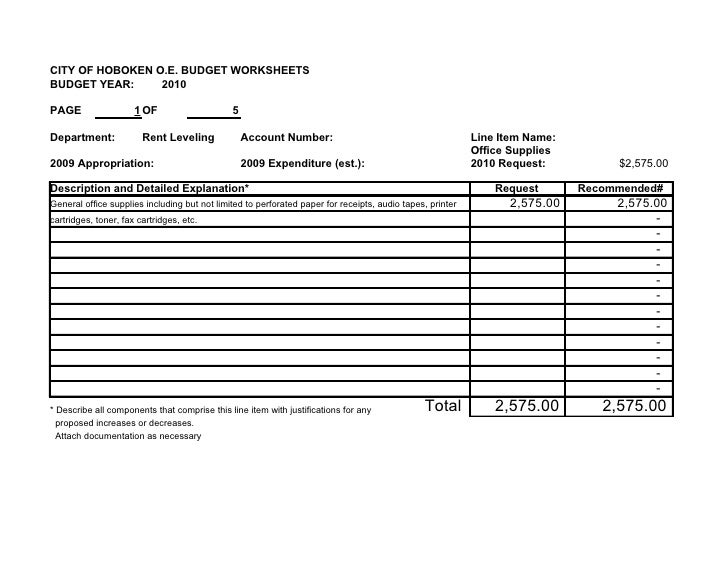CITY OF HOBOKEN O.E. BUDGET WORKSHEETS BUDGET YEAR:     2010  PAGE                  1 OF                    5  Department:...