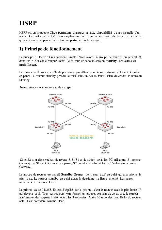 HSRP  HSRP est un protocole Cisco permettant d'assurer la haute disponibilité de la passerelle d'un  réseau. Ce protocole ...