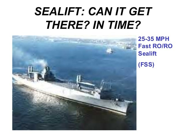 SEALIFT: CAN IT GET THERE? IN TIME?                25-35 MPH                Fast RO/RO                Sealift             ...