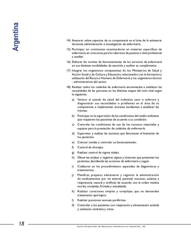 Argentina                     15) Participar en los procedimientos postmortem de acondicionamiento                        ...