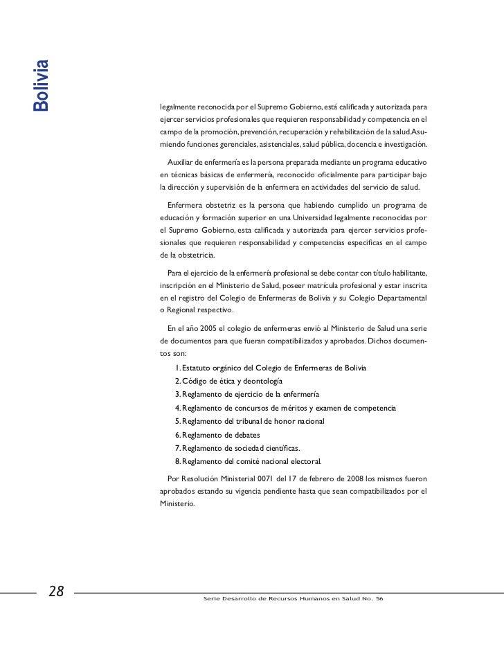 Bolivia               c) Realizar el control de la embarazada normal, asistir el parto normal y                  realizar ...