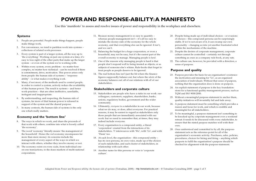 POWER AND RESPONSE-ABILITY: A MANIFESTO                                      Use this 'manifesto' to assess and resolve is...