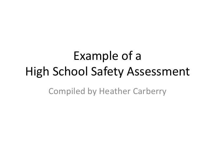Example of aHigh School Safety Assessment<br />Compiled by Heather Carberry<br />
