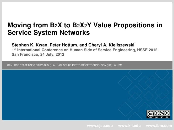 Moving from B2X to B2X2Y Value Propositions inService System Networks   Stephen K. Kwan, Peter Hottum, and Cheryl A. Kieli...