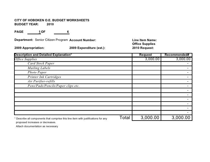 CITY OF HOBOKEN O.E. BUDGET WORKSHEETS BUDGET YEAR:     2010  PAGE                 1 OF                     6  Department:...