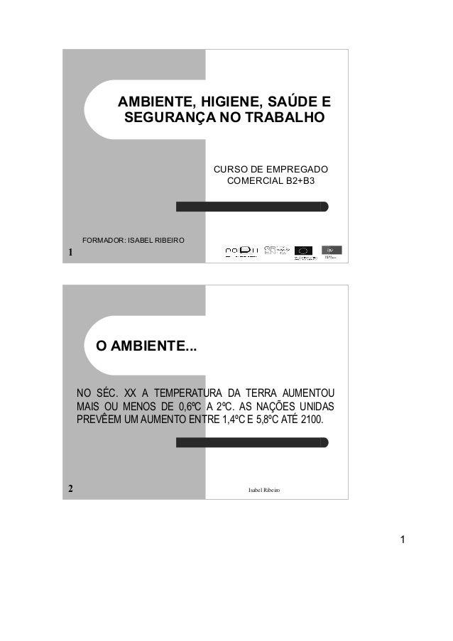 1 Isabel Ribeiro1 AMBIENTE, HIGIENE, SAÚDE E SEGURANÇA NO TRABALHO CURSO DE EMPREGADO COMERCIAL B2+B3 ESTADO PORTUGUÊS FOR...