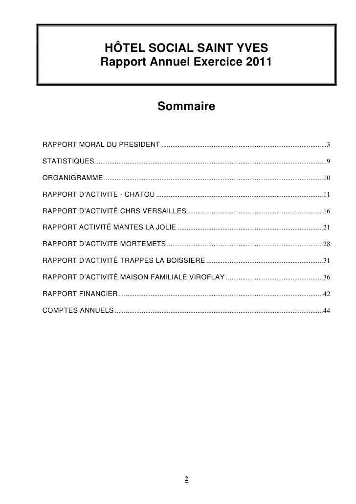 HÔTEL SOCIAL SAINT YVES                             Rapport Annuel Exercice 2011                                          ...