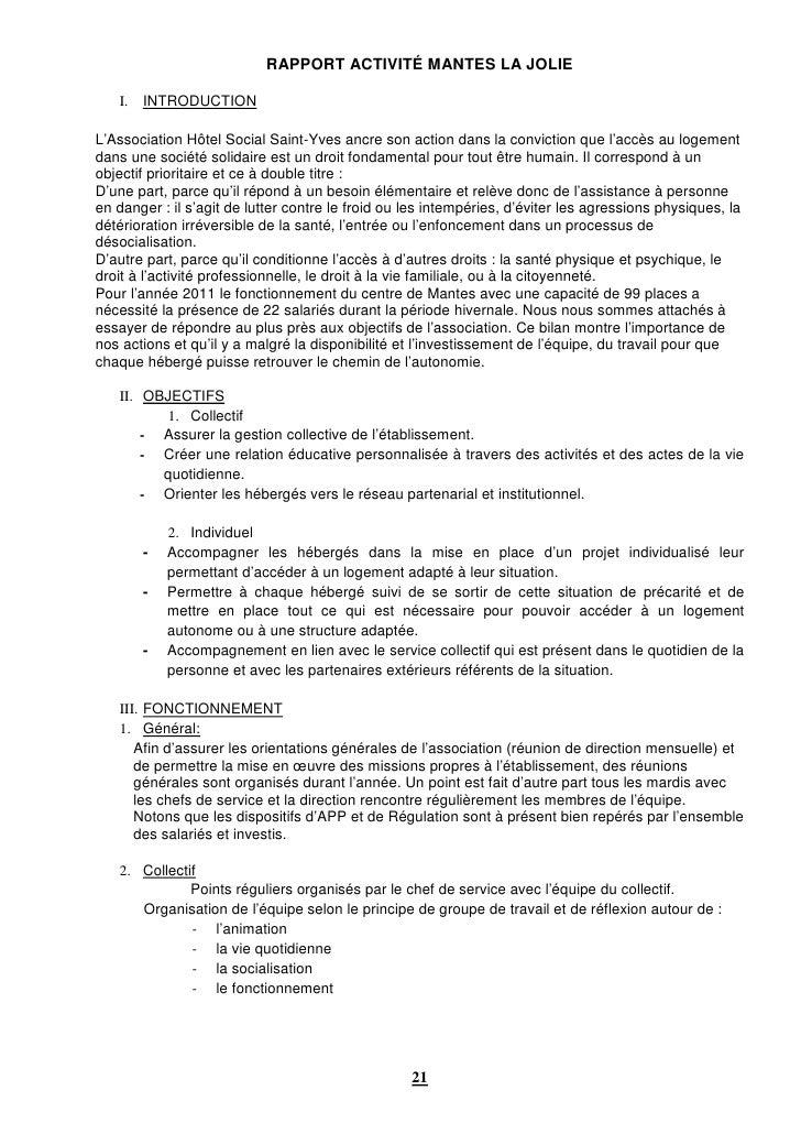 RAPPORT ACTIVITÉ MANTES LA JOLIE   I.   INTRODUCTIONL'Association Hôtel Social Saint-Yves ancre son action dans la convict...