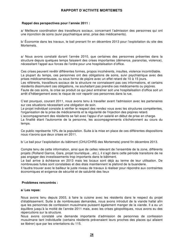 RAPPORT D'ACTIVITE MORTEMETSRappel des perspectives pour l'année 2011 :a/ Meilleure coordination des travailleurs sociaux,...