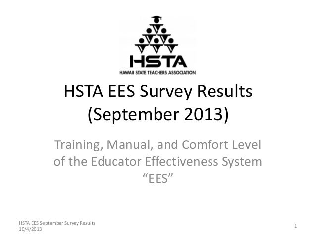 "HSTA EES Survey Results (September 2013) Training, Manual, and Comfort Level of the Educator Effectiveness System ""EES"" 1 ..."