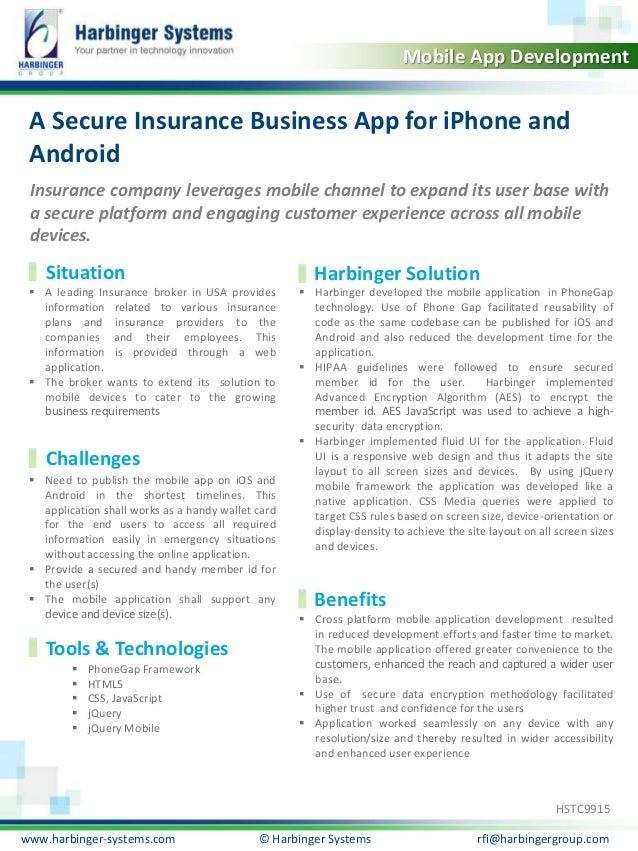 Calibri, 20, Bold Mobile App Development  A Secure Insurance Business App for iPhone and Android Insurance company leverag...