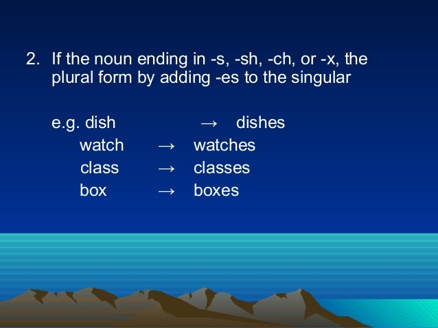 2. If the noun ending in -s, -sh, -ch, or -x, the plural form by adding -es to the singular e.g. dish → dishes watch → wat...