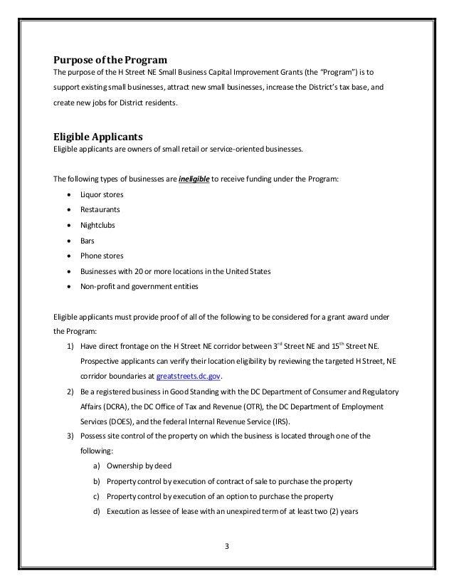 Application For H Street Ne Small Business Capital Improvement Grant