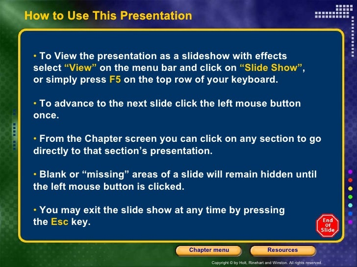 "How to Use This Presentation •  To View the presentation as a slideshow with effects  select  ""View""  on the menu bar and ..."