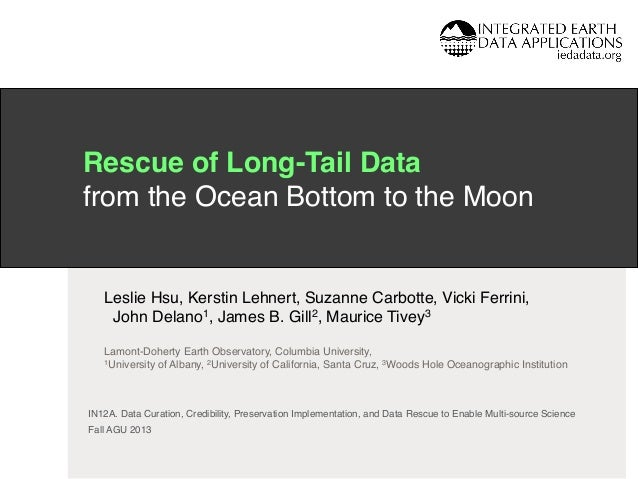 Rescue of Long-Tail Data  from the Ocean Bottom to the Moon! !  Leslie Hsu, Kerstin Lehnert, Suzanne Carbotte, Vicki Ferr...