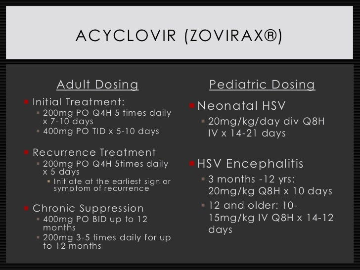 recommended dosage of acyclovir for genital herpes