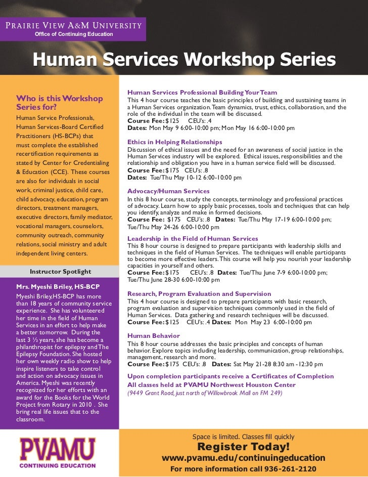 Office of Continuing Education      Human Services Workshop Series                                        Human Services P...