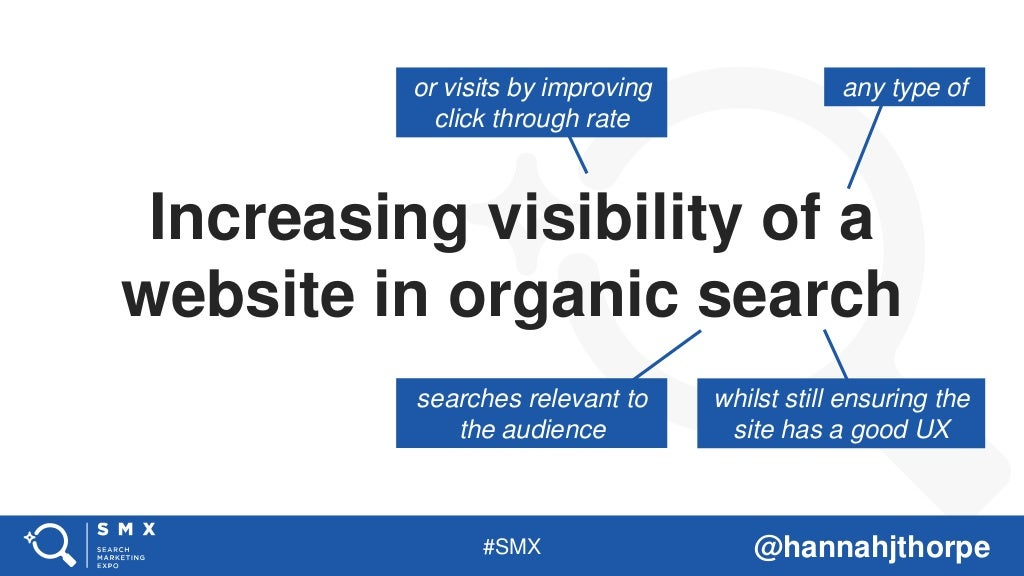 #SMX @hannahjthorpe Increasing visibility of a website in organic search or visits by improving click through rate any typ...