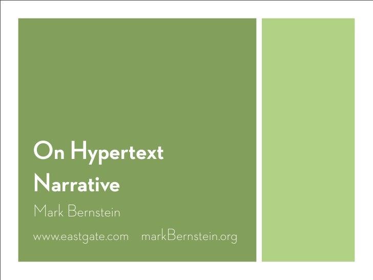 On Hypertext Narrative Slide 2