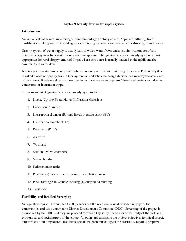 Chapter 9 Gravity flow water supply system Introduction Nepal consists of several rural villages. The rural villages of hi...