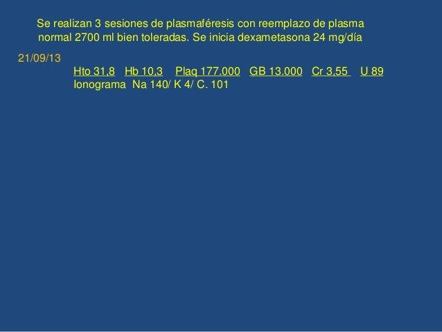 Se realizan 3 sesiones de plasmaféresis con reemplazo de plasma normal 2700 ml bien toleradas. Se inicia dexametasona 24 m...