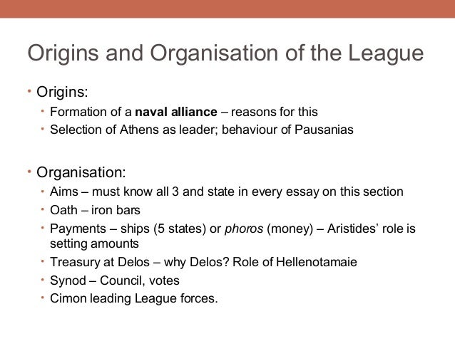essay on delian league Just thought id share with all of you the essay i recently handed in as part of my ancient history course : - what were the reasons behind the founding o.