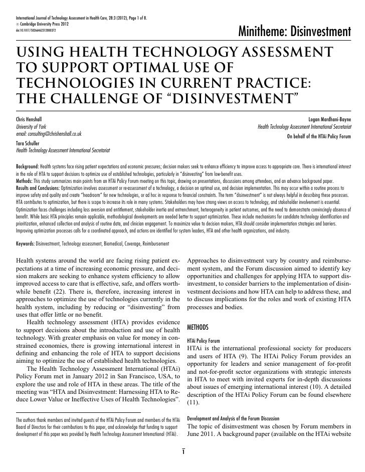 International Journal of Technology Assessment in Health Care, 28:3 (2012), Page 1 of 8. c Cambridge University Press 2012...