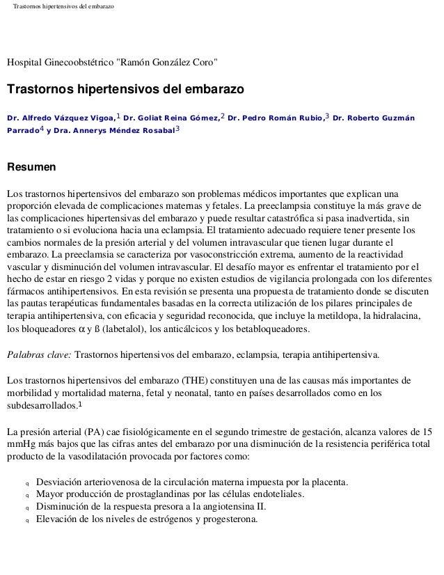 """Trastornos hipertensivos del embarazo Hospital Ginecoobstétrico """"Ramón González Coro"""" Trastornos hipertensivos del embaraz..."""