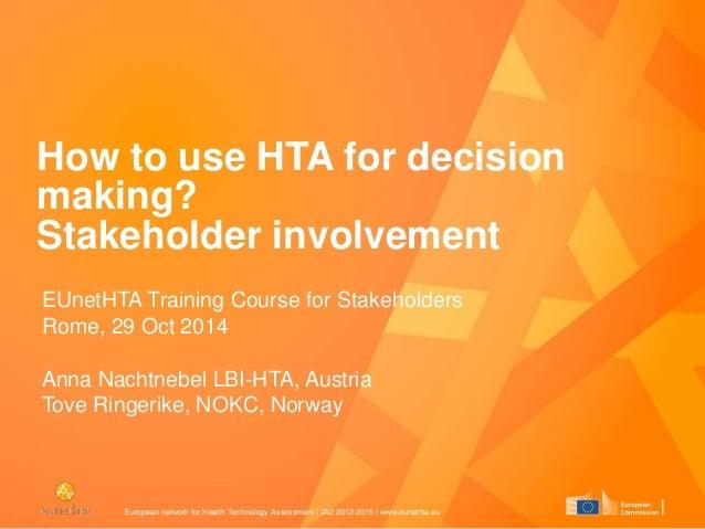 European network for Health Technology Assessment | JA2 2012-2015 | www.eunethta.eu How to use HTA for decision making? St...
