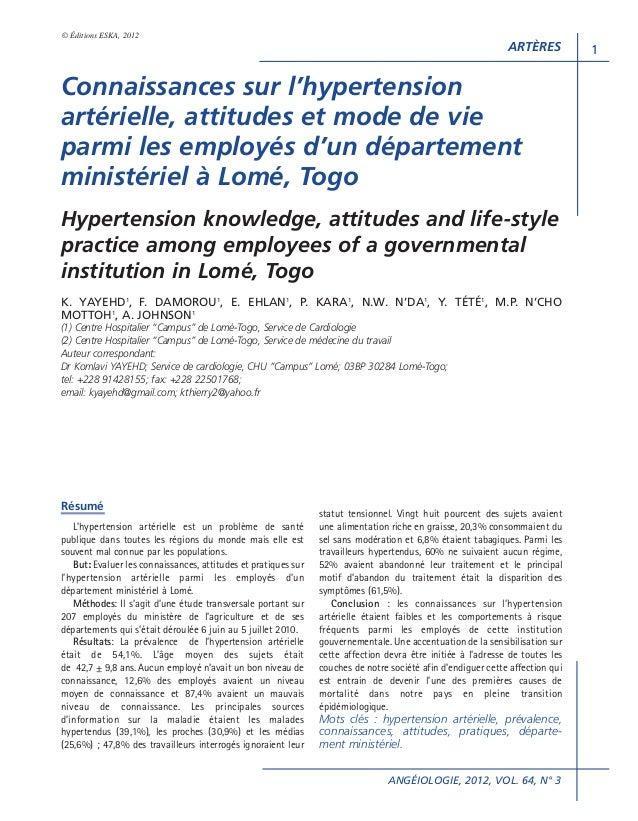 © Éditions ESKA, 2012  ARTÈRES  Connaissances sur l'hypertension artérielle, attitudes et mode de vie parmi les employés d...