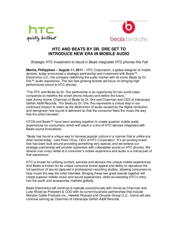 HTC AND BEATS BY DR. DRE SET TO <br />INTRODUCE NEW ERA IN MOBILE AUDIO<br />Strategic HTC investment to result in Beats i...