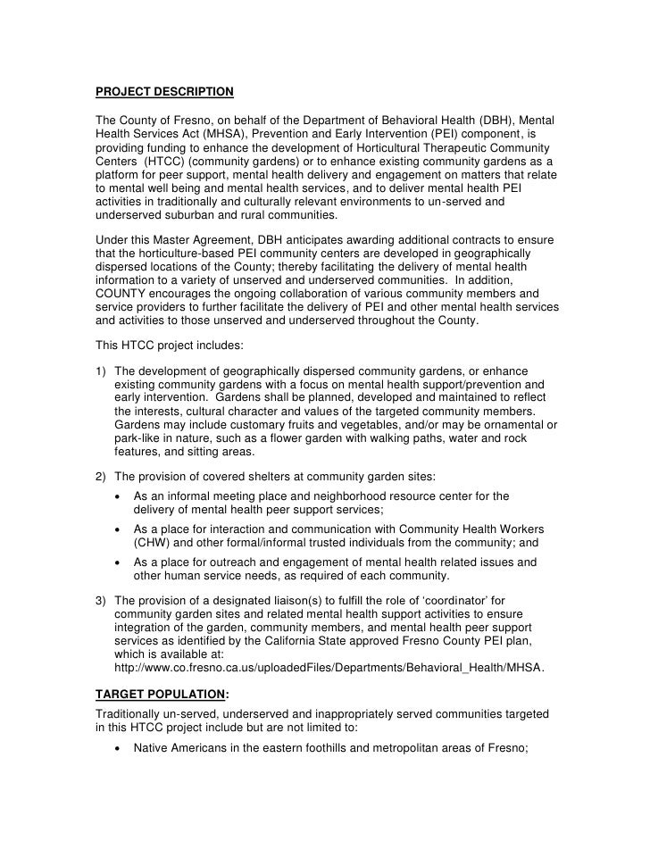 PROJECT DESCRIPTIONThe County of Fresno, on behalf of the Department of Behavioral Health (DBH), MentalHealth Services Act...