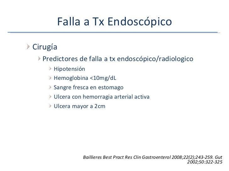 Falla a Tx Endoscópico <ul><ul><li>Cirugía </li></ul></ul><ul><ul><ul><li>Predictores de falla a tx endoscópico/radiologic...