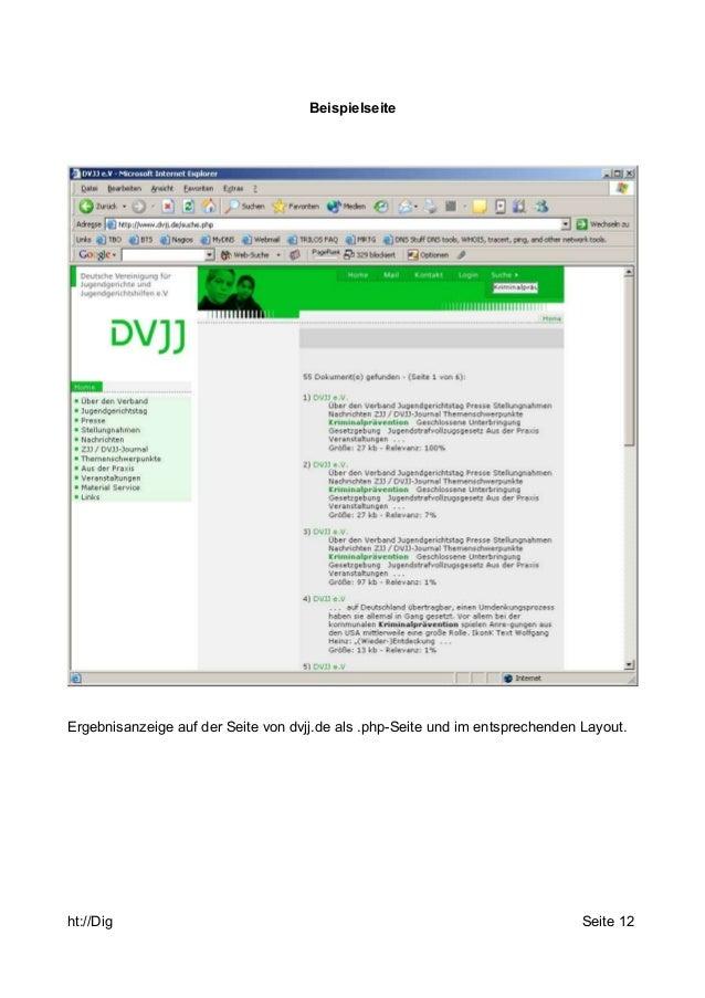 Beispielseite  Ergebnisanzeige auf der Seite von dvjj.de als .php-Seite und im entsprechenden Layout.  ht://Dig Seite 12