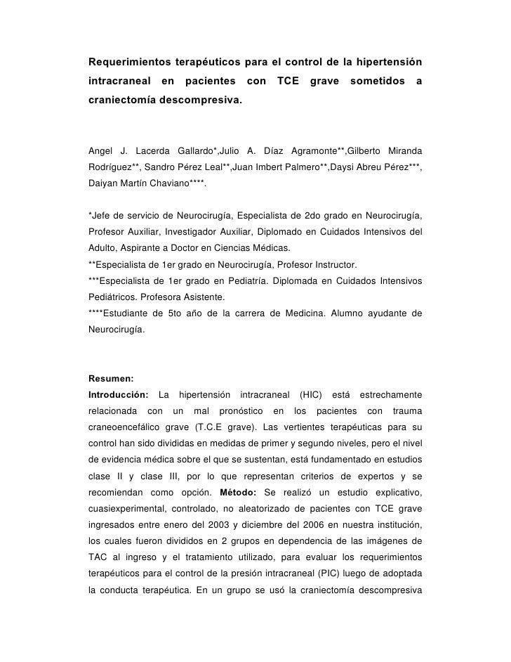 Requerimientos terapéuticos para el control de la hipertensiónintracraneal en pacientes con TCE grave                     ...