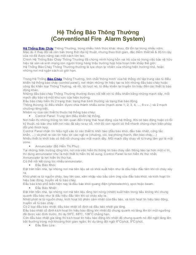 Hệ Thống Báo Thông Thường                    (Conventional Fire Alarm System)Hệ Thống Báo Cháy Thông Thường, trong nhiều h...
